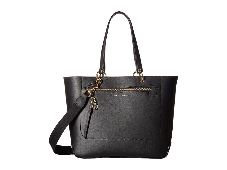 Tommy Hilfiger - Item Tote Double Sided PVC Bird Print Convertible Tote (Black) Tote Handbags