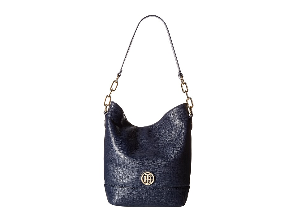 Tommy Hilfiger - Almira Pebble Leather North/South Hobo (Tommy Navy) Hobo Handbags
