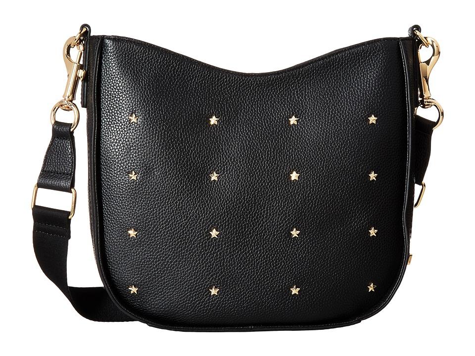 Tommy Hilfiger - City Leather Star Studded Pebble Leather Convertible Hobo (Black) Hobo Handbags