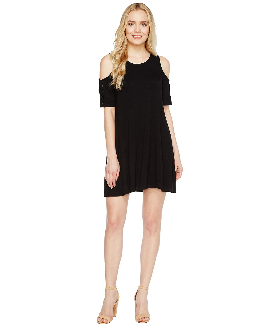 Culture Phit - Veronica Cold Shoulder Dress with Lace-Up Detail (Black) Women's Dress