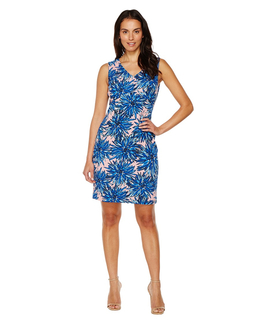 Ellen Tracy - Printed Crepe Jersey Dress with V-Neckline (Blue Multi) Women's Dress