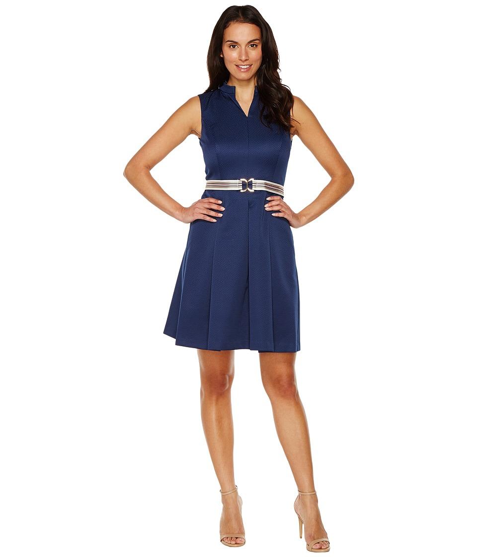 Ellen Tracy Fit Flare Pique Dress with Striped Belt (Navy) Women