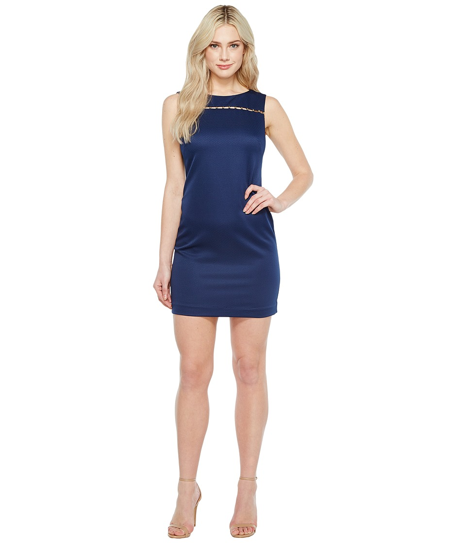 Ellen Tracy Solid Pique Dress with Hardware Detail (Navy) Women
