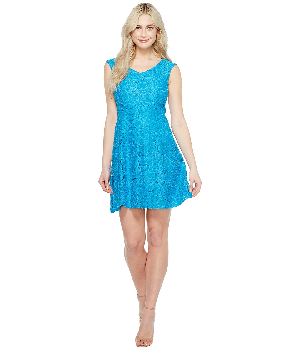 Ellen Tracy Lace Fit Flare Dress with V-Neck (Blue) Women
