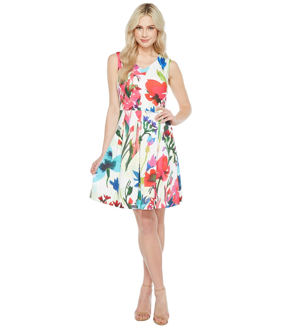 Ellen Tracy A-Line Printed Scuba Dress with V-Neck (Ivory Multi) Women
