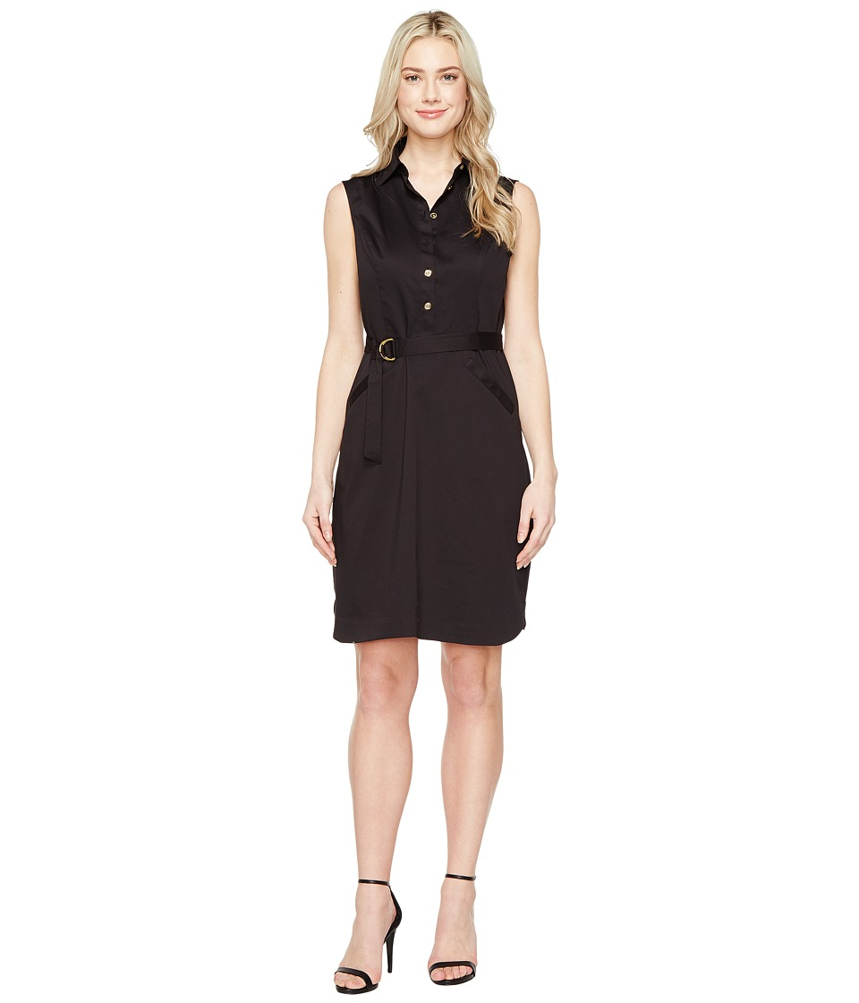 Ellen Tracy Cotton Fit Flare Dress with Collar (Black) Women