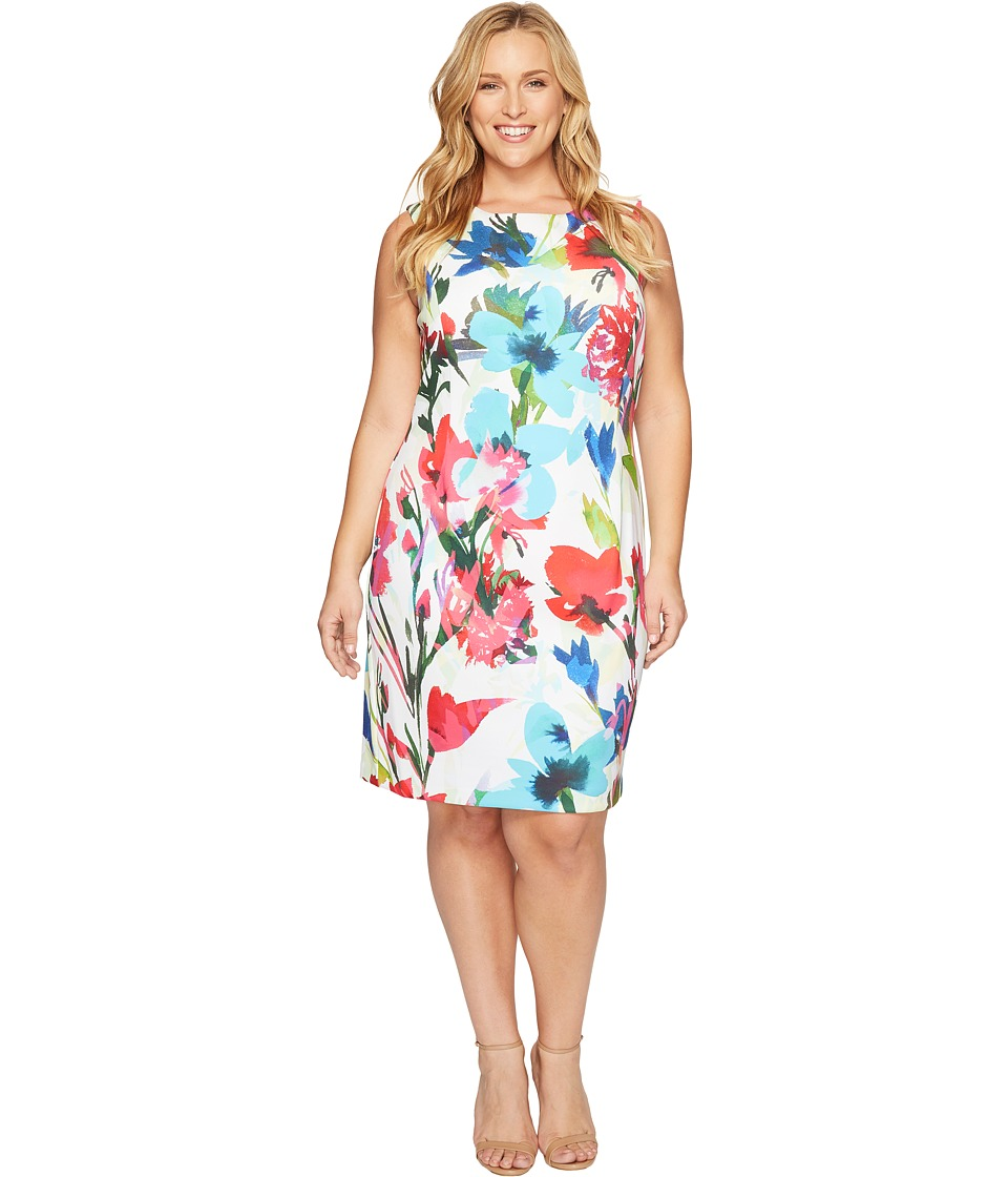 Ellen Tracy - Plus Size Printed Shift Dress in Scuba (Ivory Multi) Women's Dress