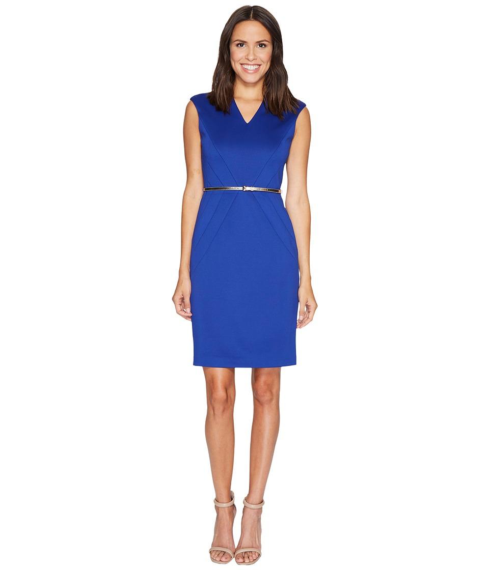 Ellen Tracy Scuba Dress w/ Belt (Cobalt) Women