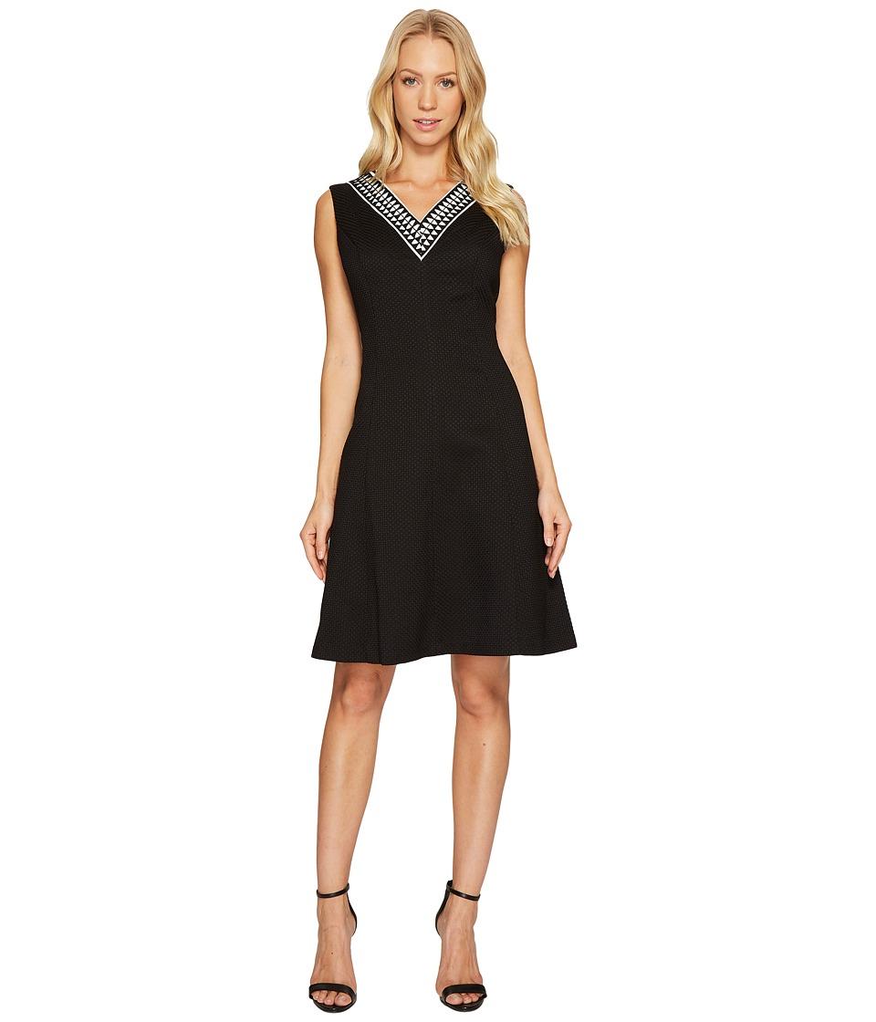 Ellen Tracy Fit Flare Pique Dress with V-Neck (Black) Women
