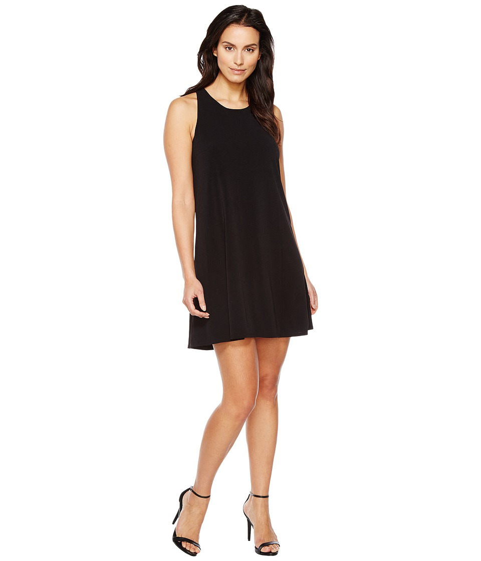 CeCe Crepe Knit Twist Back Halter Dress (Rich Black) Women