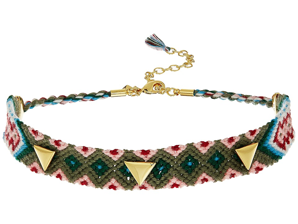 Rebecca Minkoff - Triangle Stud Friendship Choker (Gold/Green) Necklace