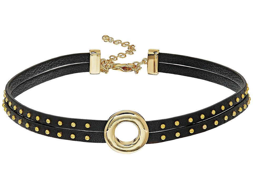 Rebecca Minkoff - Leather Studded Choker with Center Ring (Gold/Black) Necklace