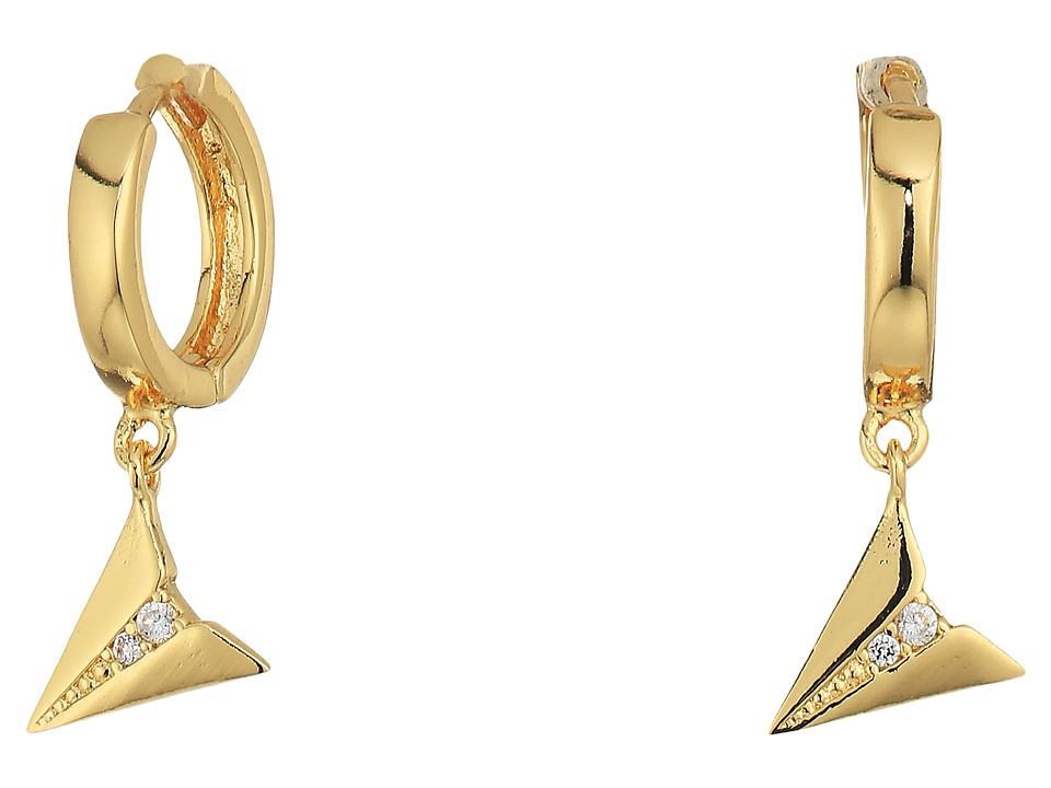 Rebecca Minkoff - Huggie Hoop Earrings with Paper Plane Charm (Gold/Crystal) Earring