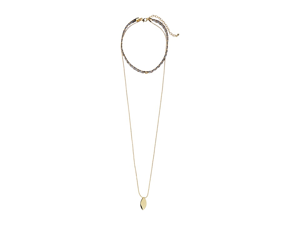 Rebecca Minkoff - Leather Layered Choker (Gold/Black) Necklace
