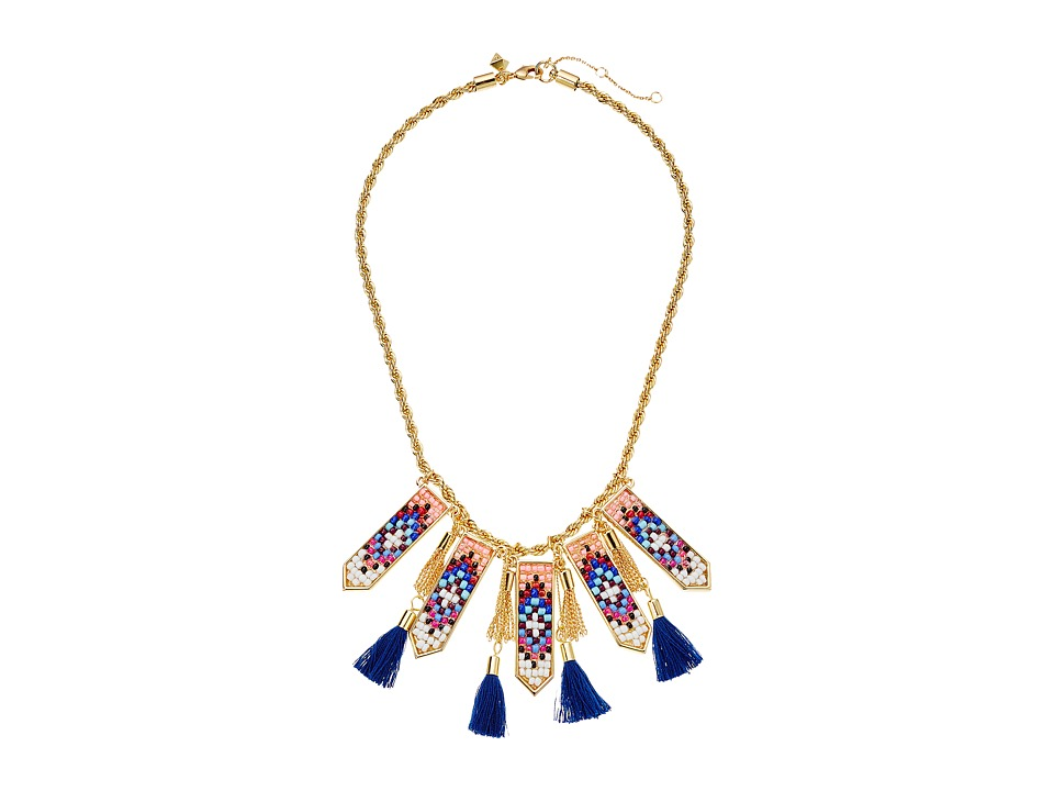 Rebecca Minkoff - Catalina Seed Bead Statement Bib Necklace (Gold/Blue Multi) Necklace