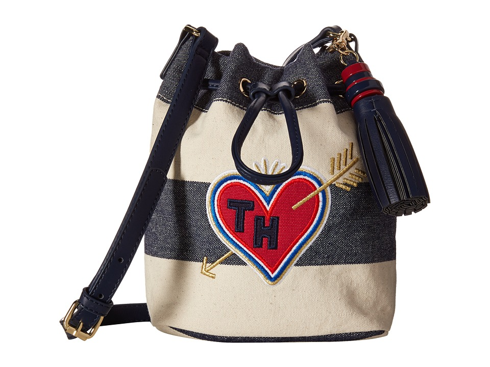 Tommy Hilfiger - Summer of Love Small Crossbody Bucket (Navy/Natural) Cross Body Handbags