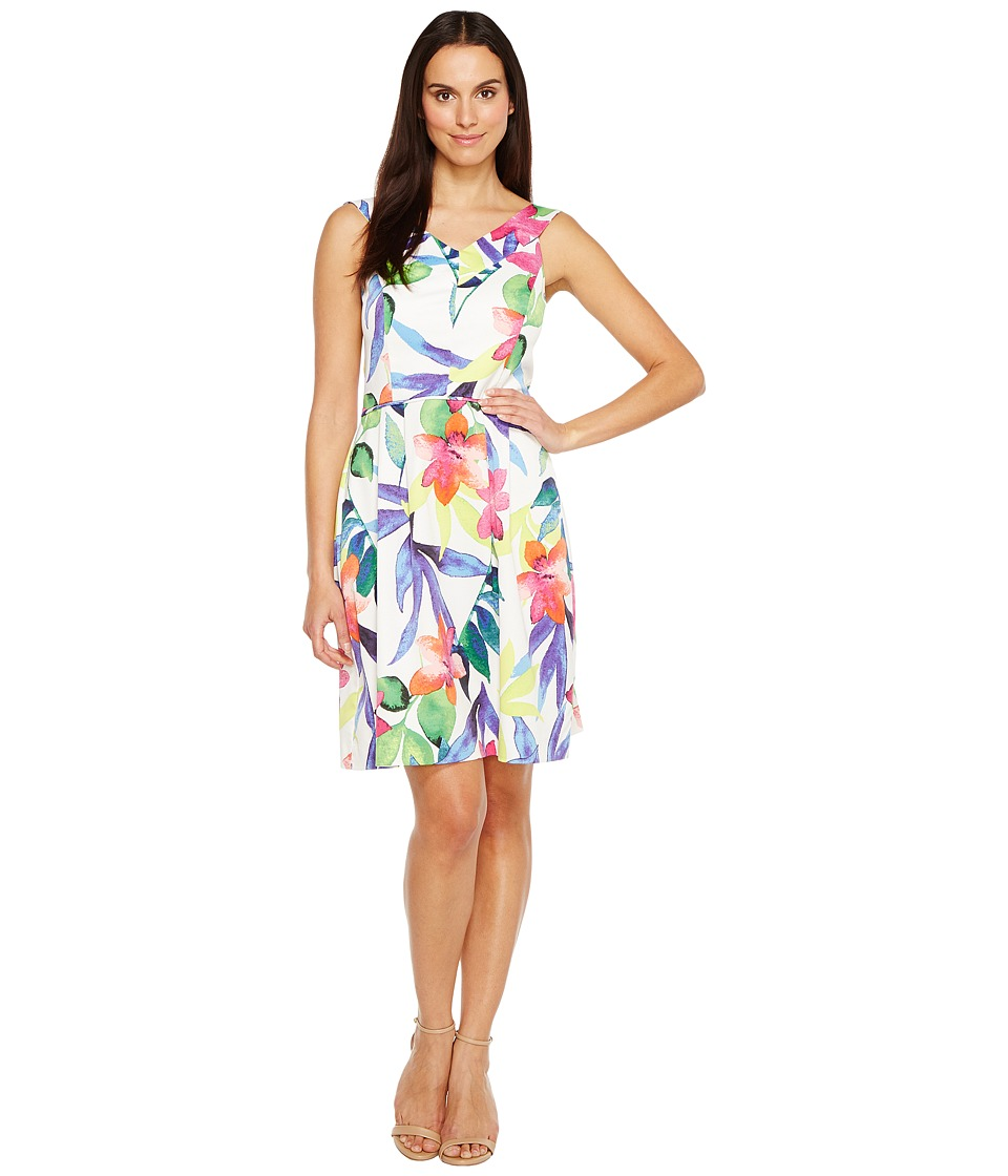Ellen Tracy Floral Printed Fit Flare Dress with Wide Neckline (White Multi) Women