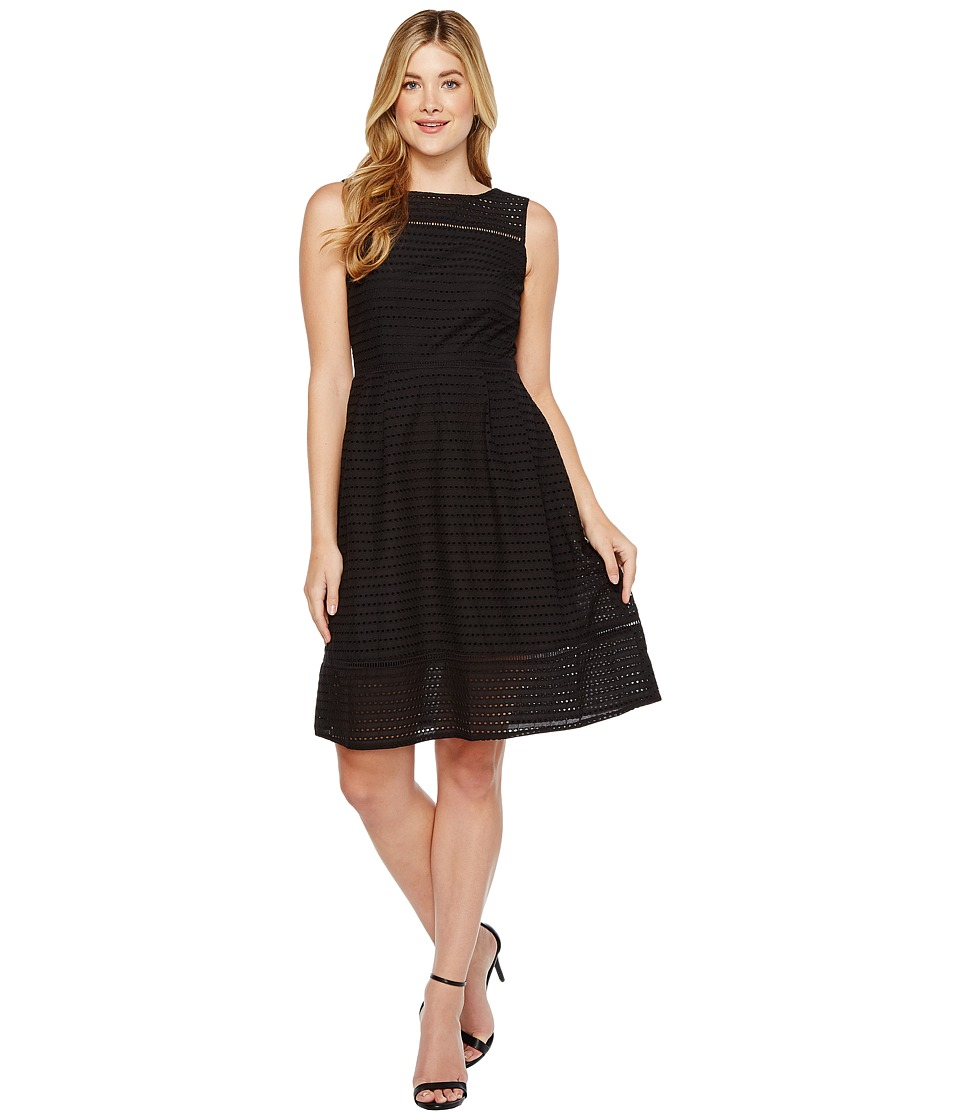 Ellen Tracy - Eyelet Midi Dress (Black) Women's Dress