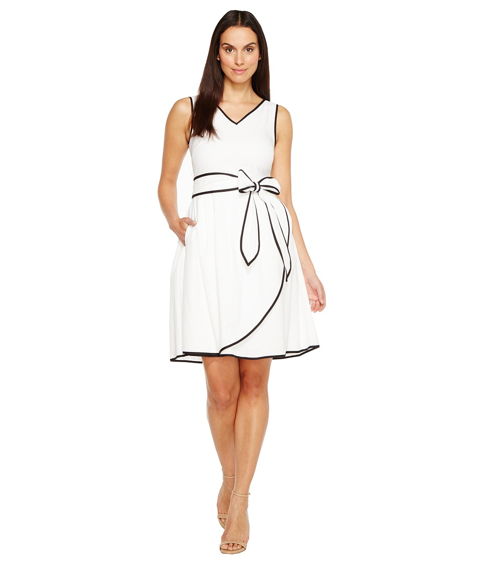 Ellen Tracy - Textured Cotton Midi with Black Trim Detail (White) Women's Dress