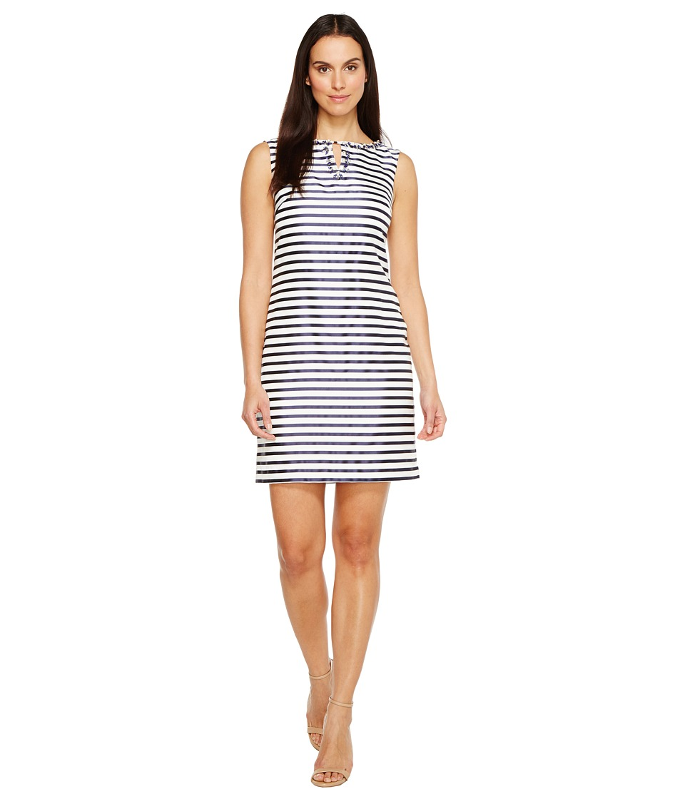 Ellen Tracy Striped Twill Dress with Neckline Embellishment (Navy/White) Women