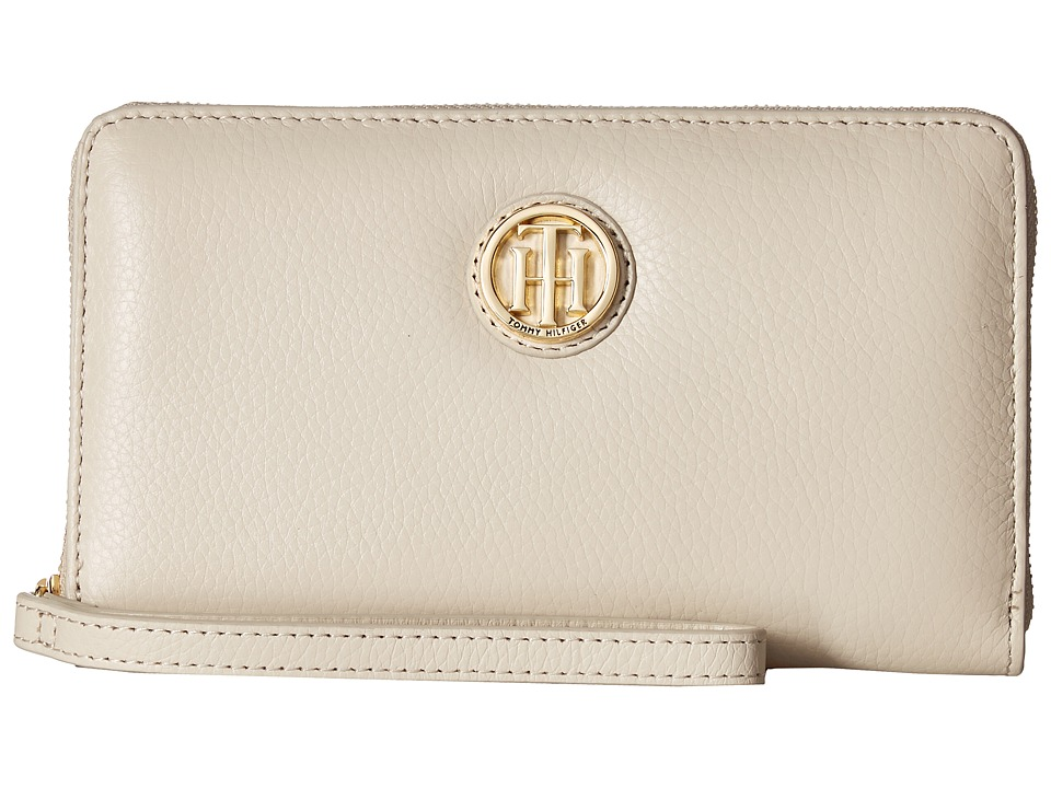 Tommy Hilfiger - TH Serif Signature - Carryall Wristlet (Oatmeal) Wristlet Handbags