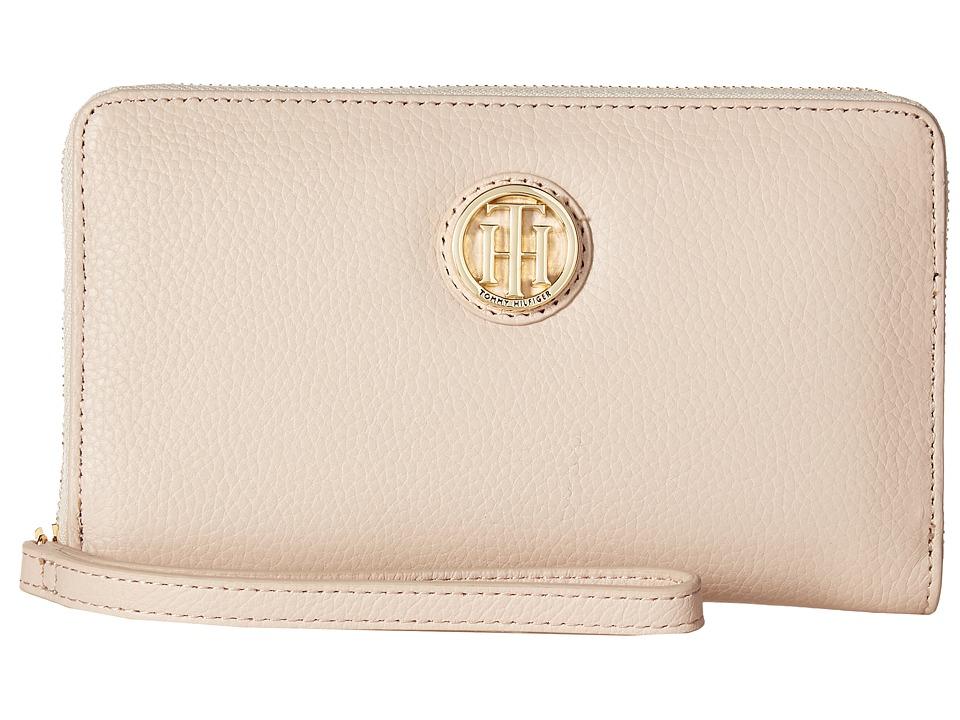 Tommy Hilfiger - TH Serif Signature - Carryall Wristlet (Blush) Wristlet Handbags