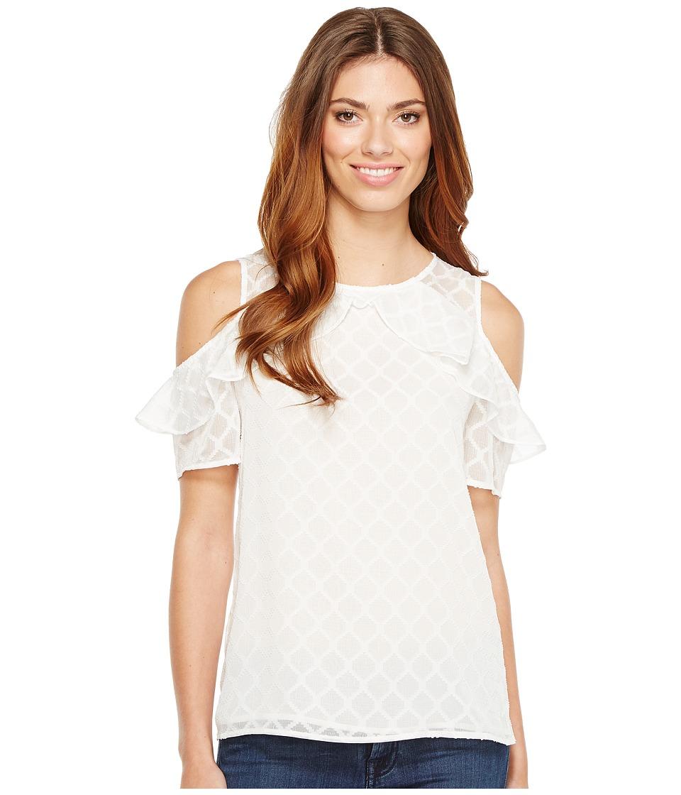 CeCe - Short Sleeve Ruffled Cold Shoulder Diamond Clip Blouse (New Ivory) Women's Blouse