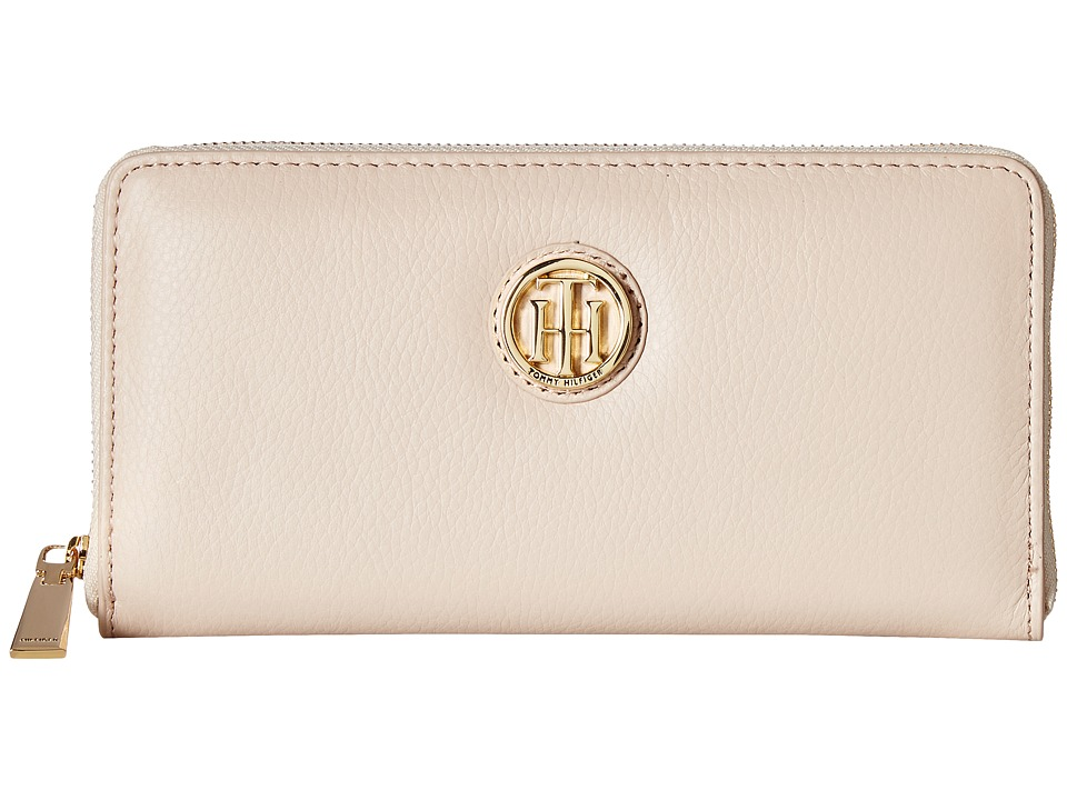 Tommy Hilfiger - Serif Signature - Large Zip Around Wallet (Blush) Wallet Handbags