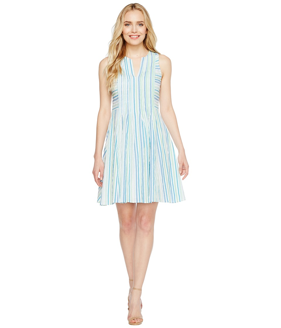 CeCe Sleeveless Stripe Crinkle Gauze Pintuck Dress (Aqua Dream) Women