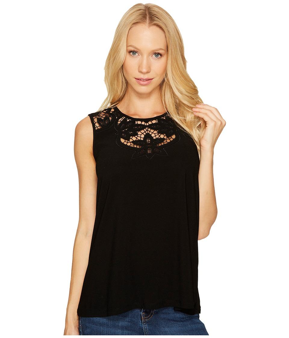 CeCe - Knit Top with Floral Cut Out Neckline (Rich Black) Women's Blouse