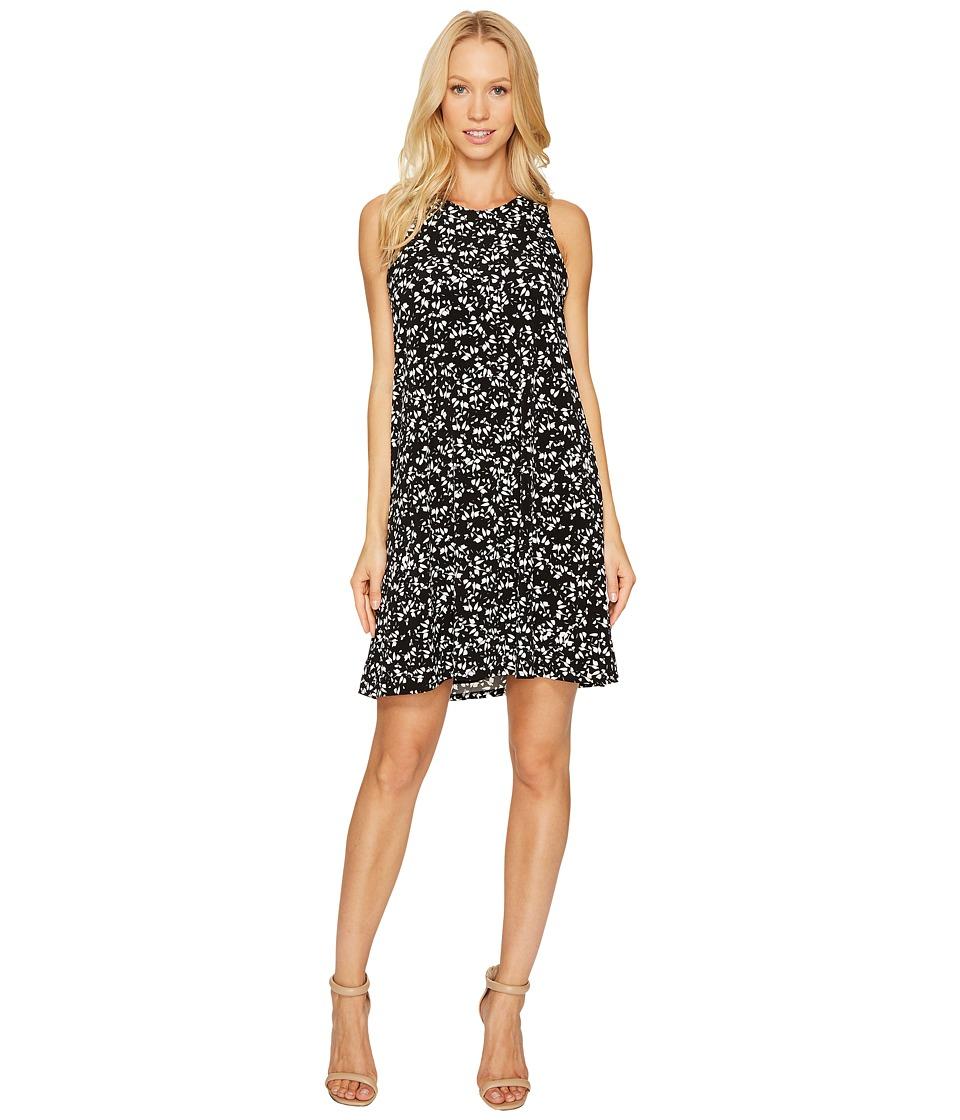 CeCe - Twist Back Modern Ditsy Halter Dress (Rich Black) Women's Dress
