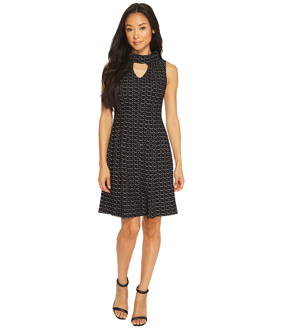 Taylor - Jacquard Honeycomb Knit Fit Flare (Black/Ivory) Women's Dress