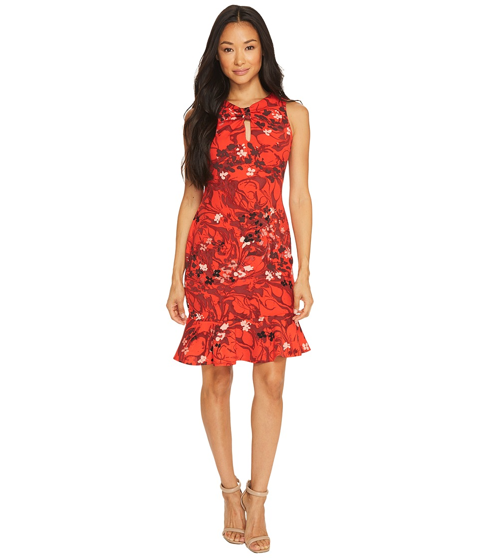 Taylor - Floral Printed Crepe Scuba with Flounce Bottom (Crimson Red) Women's Dress