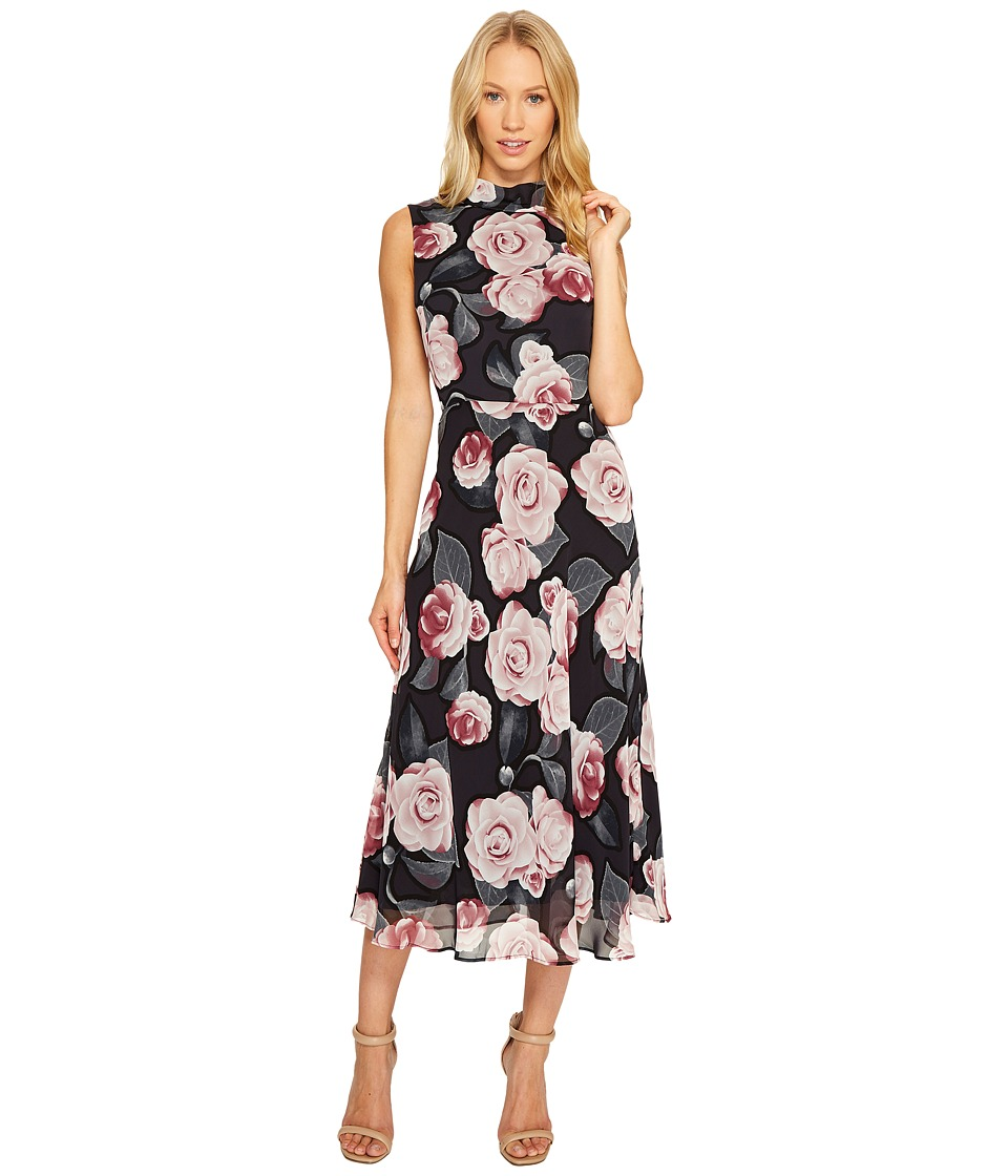 Taylor - Floral Print Chiffon Maxi with Tie Back (Rosewood/Grey) Women's Dress