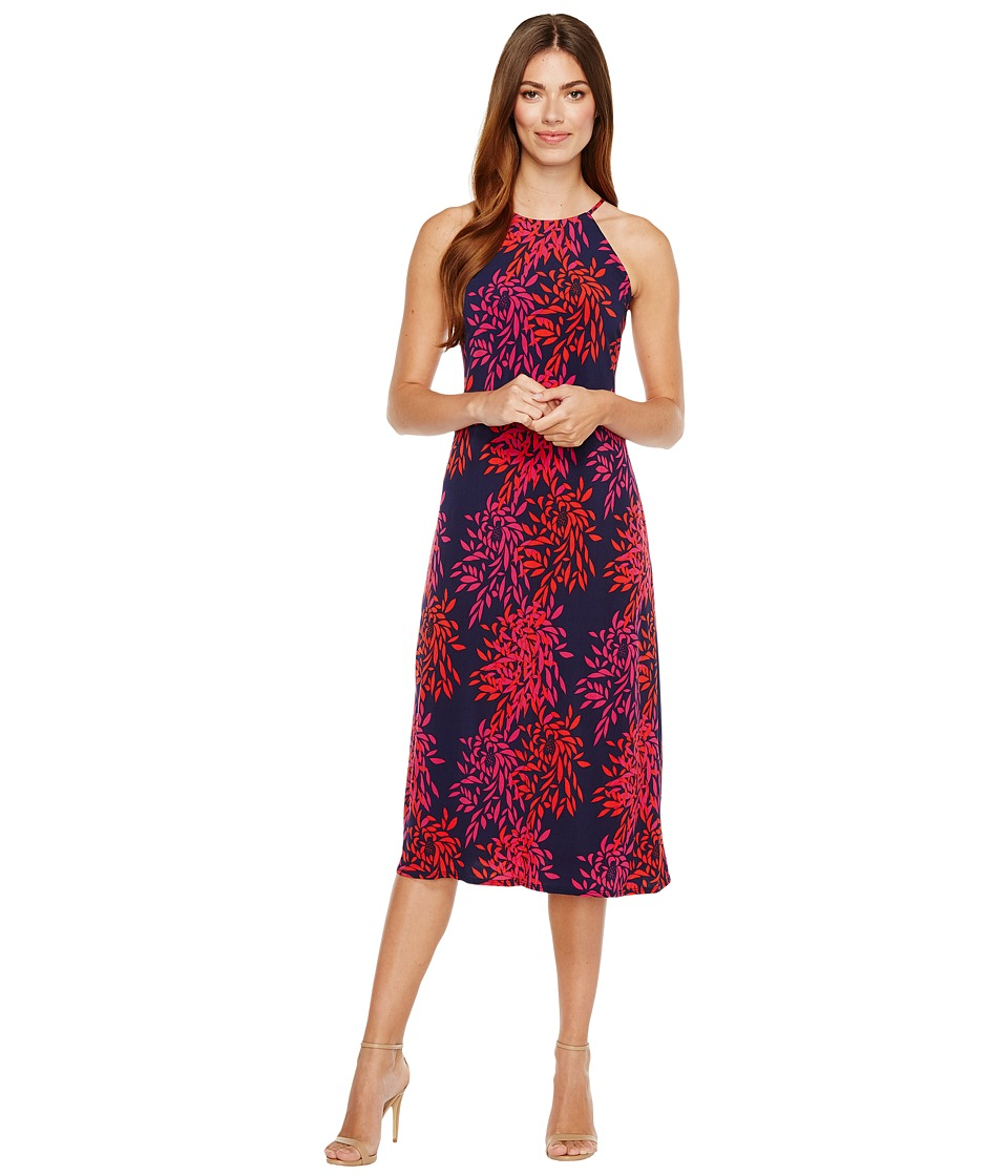 Taylor - Fern Print Jersey Midi Dress (Navy/Fuchsia) Women's Dress