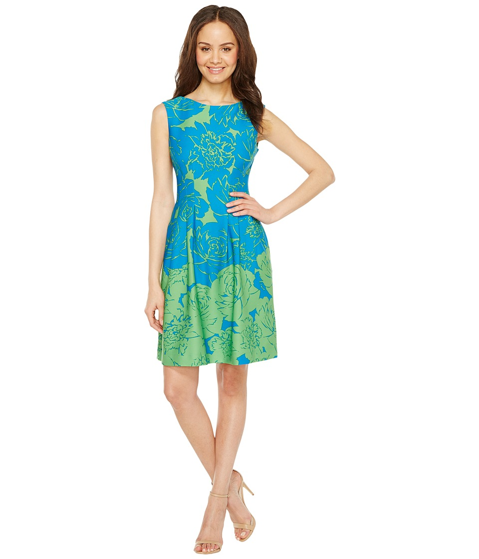 Taylor - Rose Print Fit Flare Scuba Dress (Azure/Lime) Women's Dress