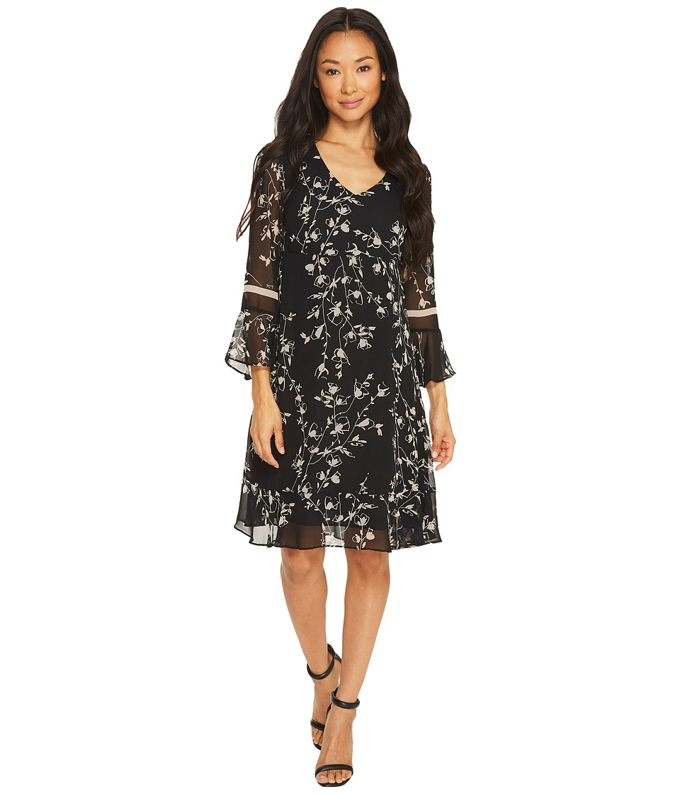 Taylor - Floral Chiffon Dress with Bell Sleeves (Black/Beige) Women's Dress