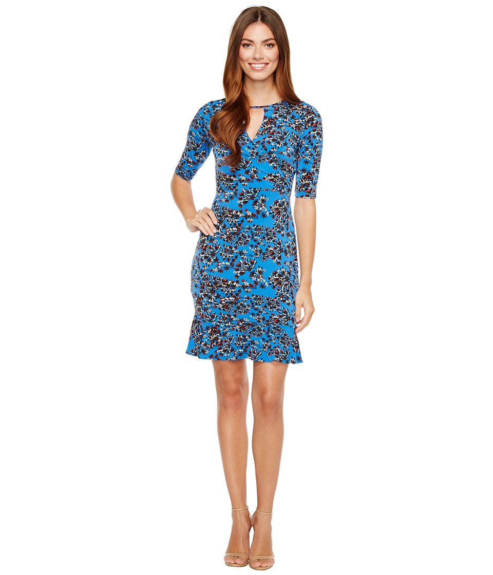 Taylor - Jersey Floral Print Dress with Flounce Bottom (Cobalt/Black) Women's Dress