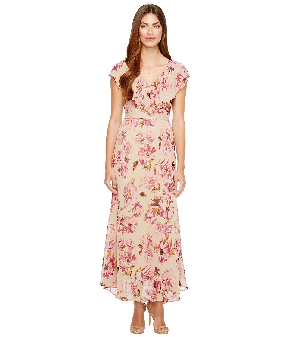 Taylor - Vintage Floral Chiffon Maxi (Vintage Plum) Women's Dress