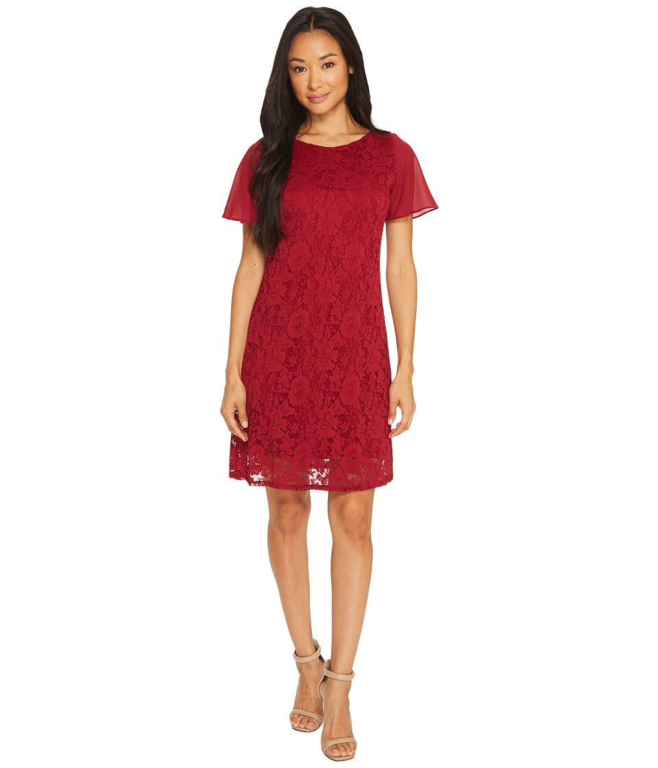 Taylor Textured A-Line Lace Dress with Chiffon Sleeves (Merlot) Women