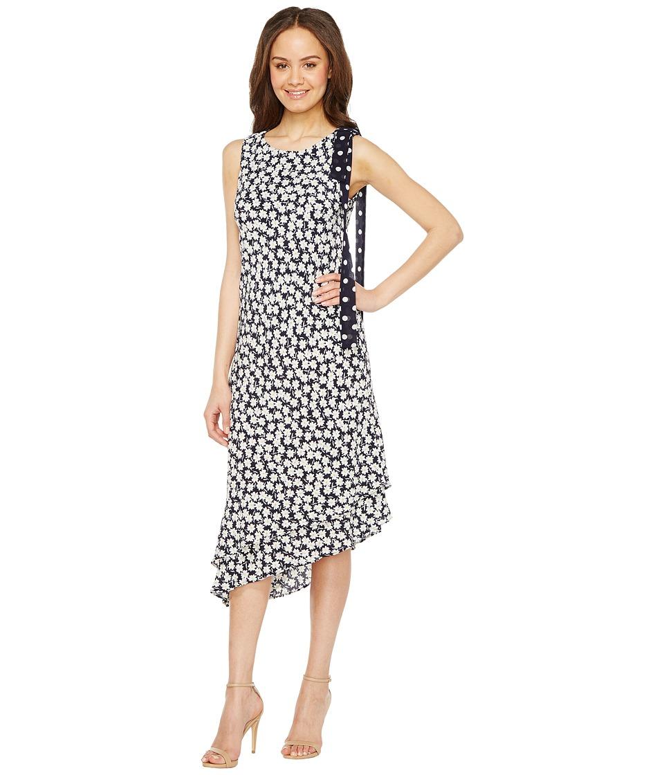 Taylor - Asymmetrical Daisy Print Crepe w/ Chiffon Maxi (Navy/Ivory) Women's Dress