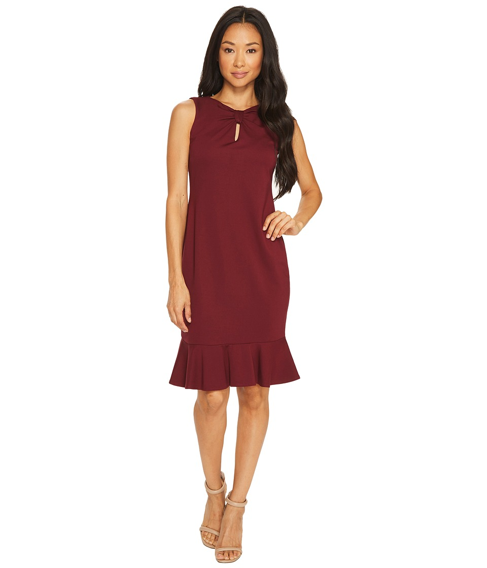 Taylor - Ponte Keyhole Sheath with Flounce Bottom (Wine) Women's Dress