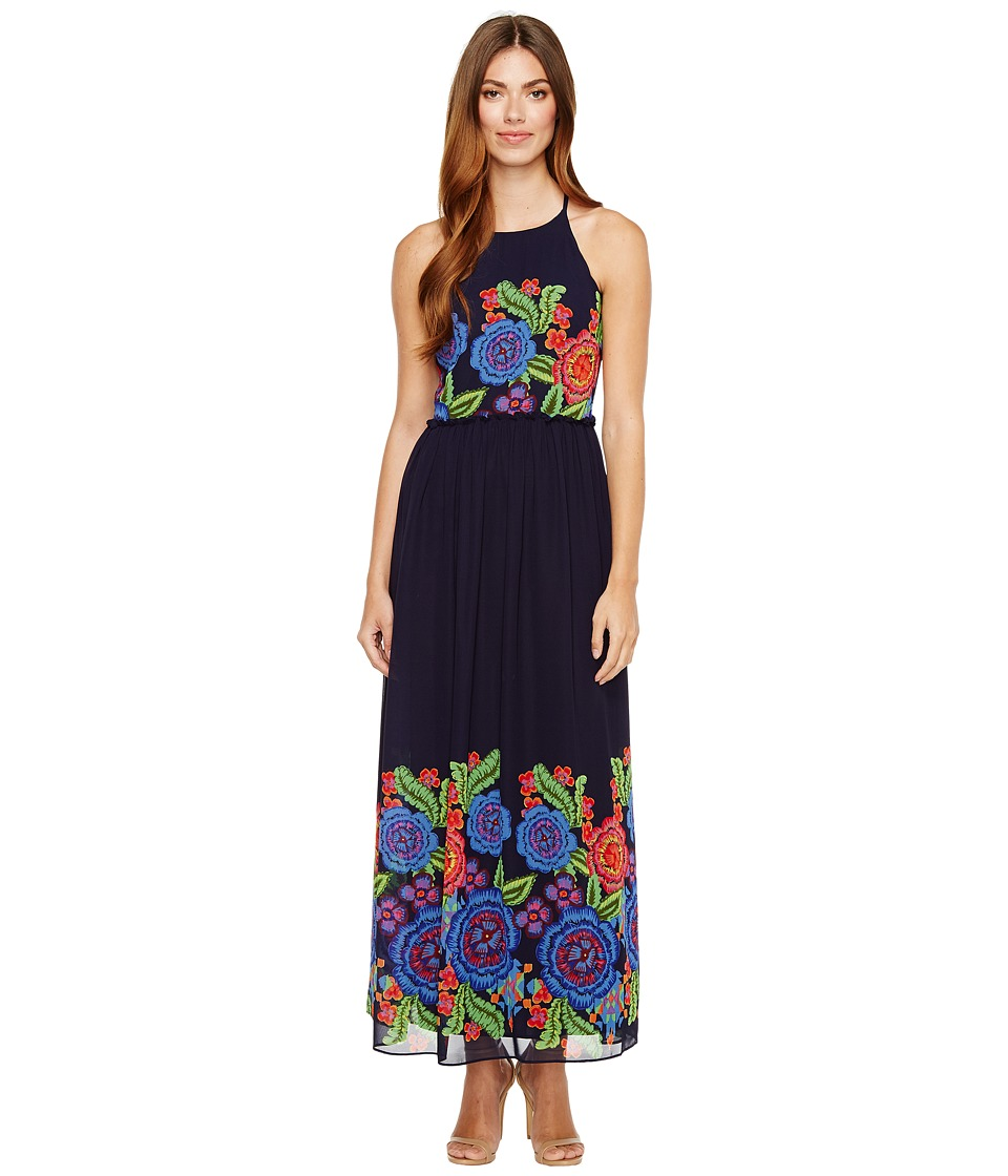 Taylor - Placed Floral Print Chiffon Maxi (Navy Multi) Women's Dress