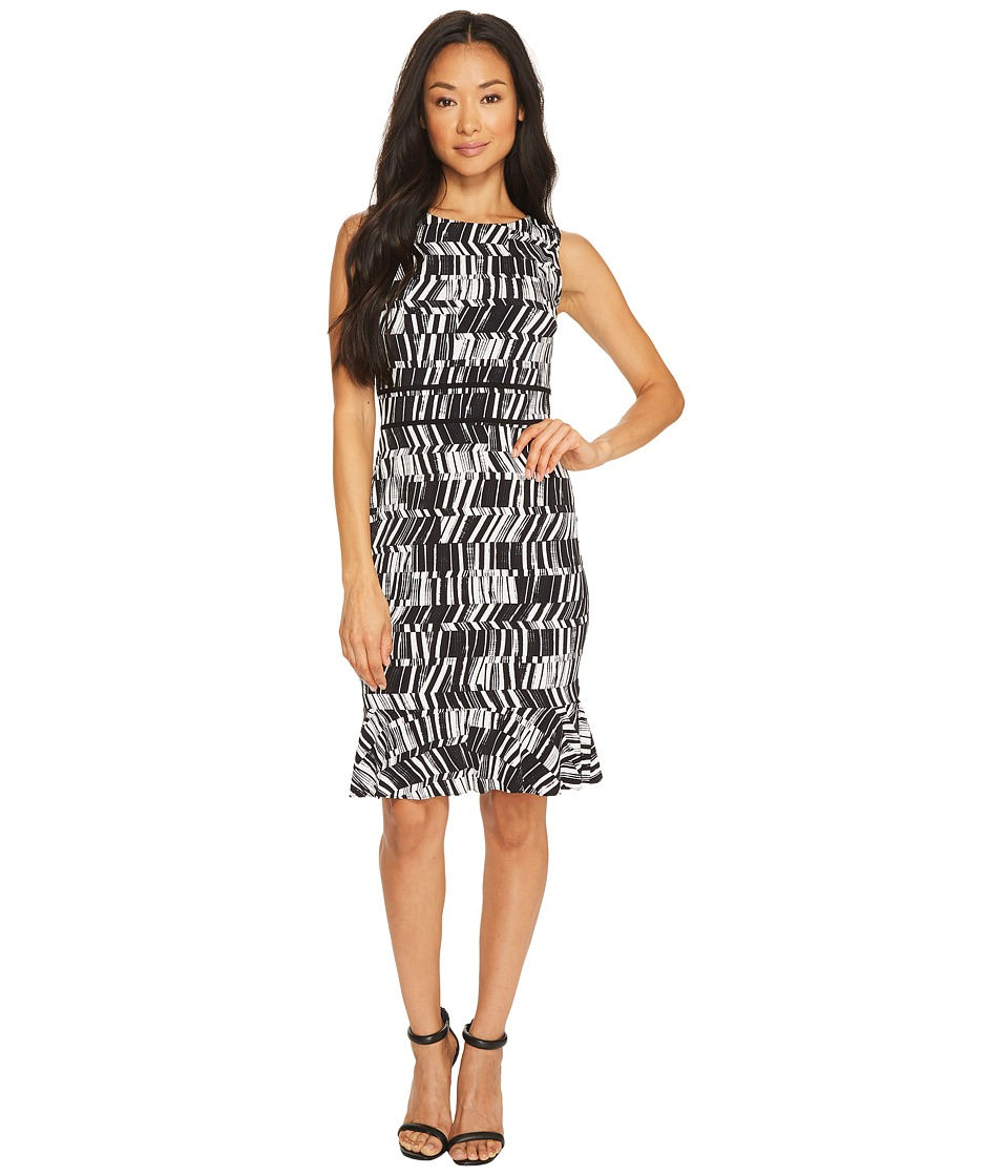 Taylor - Sleeveless Printed Jersey Dress with Flounce (Cream/Black) Women's Dress