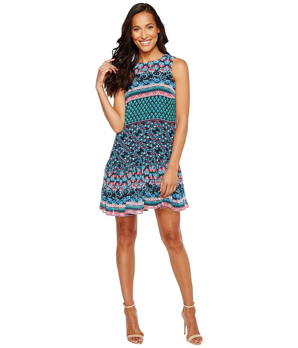 Taylor - Mixed Floral Print Chiffon Shift Dress (Navy Multi) Women's Dress