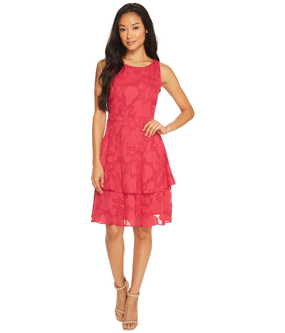 Taylor - Tiered Chiffon Burnout Dress (Berry) Women's Dress