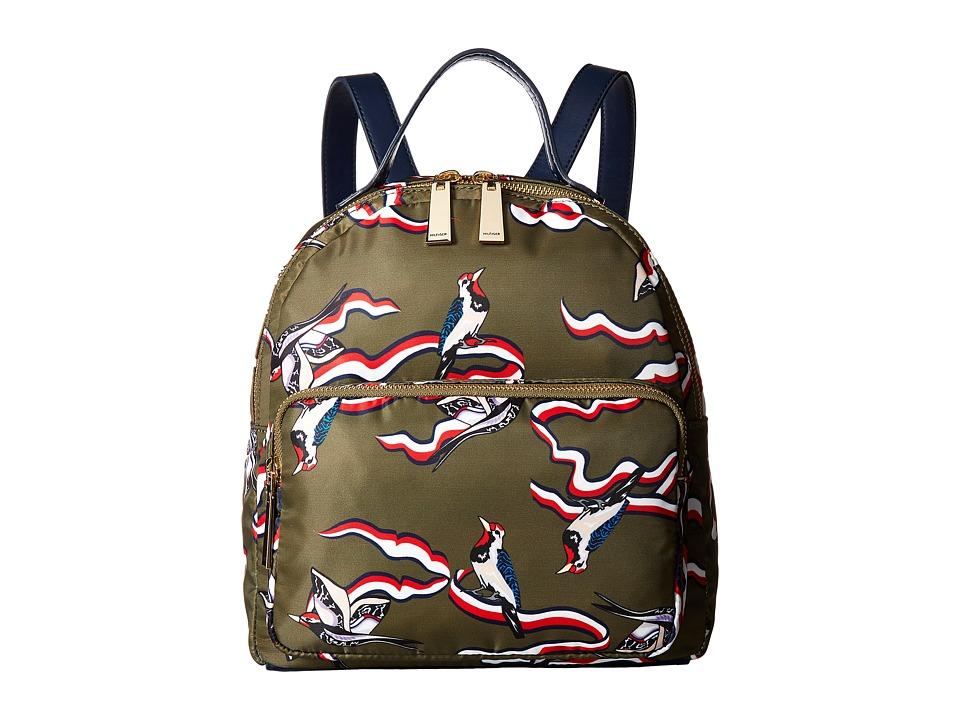 Tommy Hilfiger - Julia TH Bird Nylon Dome Backpack (Olive) Backpack Bags