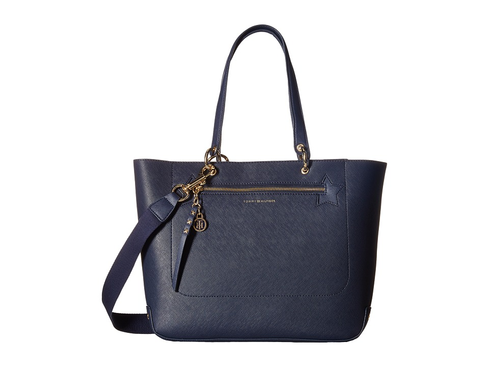 Tommy Hilfiger - Item Tote Double Sided PVC Star Print Convertible Tote (Tommy Navy) Tote Handbags