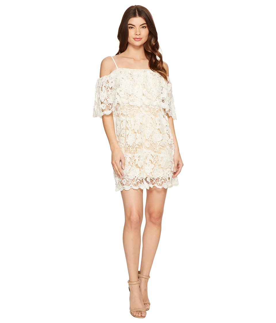 ROMEO & JULIET COUTURE - Off the Shoulder Double Layered Lace Dress (Canvas) Women's Dress
