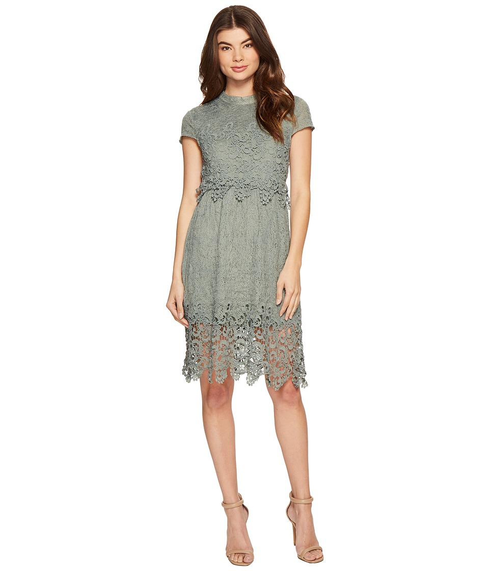 ROMEO & JULIET COUTURE - Cap Sleeve Open Back Lace Dress (Dusty Sage) Women's Dress